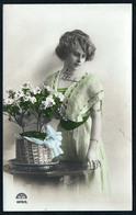 B5400 - Hübsche Junge Frau Im Kleid - Mode Frisur - Pretty Young Women - Coloriert - Mode