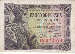BILLETE DE ESPAÑA DE 1 PTA  DEL AÑO 1943 SERIE D CALIDAD MBC (VF) (BANKNOTE) - [ 3] 1936-1975 : Regency Of Franco