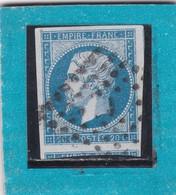 """N°14 A   OBLIT. DE PARIS  BUREAU DE QUARTIER """" J  """" PLACE DE LA BOURSE / PETIT LOGEMENT  + VARIETE- REF ACDIV - 1853-1860 Napoleone III"""