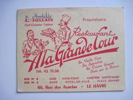 Carte Publicitaire Restaurant A La Grande Cour 76 Le Havre T.B.E. - Other