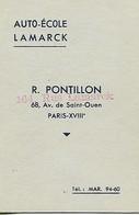 Carte De Pointage Auto Ecole Lamark Paris Des Années 1950 - Old Paper