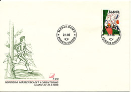 Aland FDC 2-1-1986 Nordic Orienteering Aland 30-31/8-1986 With Cachet - Aland