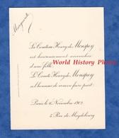 Faire Part De Naissance - PARIS , 5 Rue De Magdebourg - Comte & Comtesse Henry De MONSPEY - Novembre 1902 - Naissance & Baptême