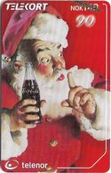 Norway - Telenor - Santa Claus With Coca Cola - N-233 - 10.2001, 20.000ex, Used - Norway