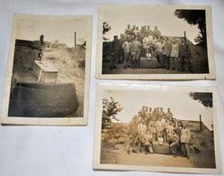 Rare Trois Photos Militaires Devant Cercueil Enterrant Le Père Cent - 1914-18