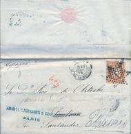 1875 , FRANCIA , CARTA CIRCULADA PARIS - SANTOÑA , REDIRIGIDA A MADRID , FR. YV. 38 , LLEGADA - 1870 Siège De Paris