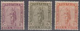 SAN MARINO - 1922 - Lotto Tre Valori Nuovi MH: Yvert 81, 82 E 83,  Come Da Immagine. - Saint-Marin