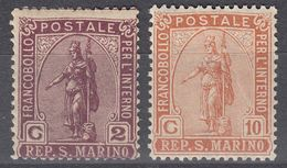 SAN MARINO - 1922 - Lotto Due Valori Nuovi MH: Yvert 81 E 83,  Come Da Immagine. - Oblitérés