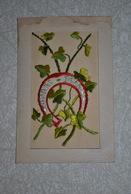 Rare Très Belle Carte Brodée Bonne Fête Avec Fer à Cheval - Cartoline