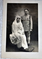 Rare Très Belle Carte Photo Mariage D'un Poilu - 1914-18