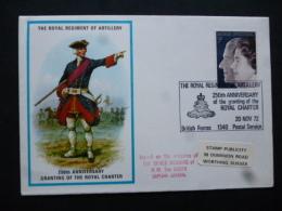 GREAT BRITAIN [UK]   POSTMARK THE RPYAL REGIMENT OF ARTILLERY 250TH ANNIV OF ROYAL CHARTER BRITISH FORCES 1340 POSTAL SE - Army & War