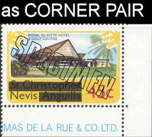 NEVIS 1980 Golf Course Royal Hotel 45c CORNER.SPECIMEN PAIR - St.Kitts And Nevis ( 1983-...)