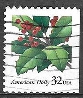 1997 32 Cents Christmas Holly, Imperf Right, Used, Michel #2902BDr - United States