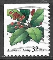 1997 32 Cents Christmas Holly, Imperf Top & Left, Used, Michel #2902BEol - United States