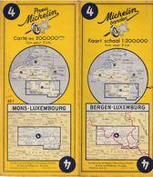 Carte Michelin N°4 Mons-Luxembourg / Bergen-Luxemburg 1955 - Roadmaps