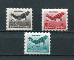 MYANMAR BIRMA BURMA 1968 Mi # D 95 - D 97 BIRDS OVERPRINT MNH - Myanmar (Burma 1948-...)