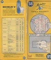 Carte Michelin N°58 - Brest Quimper - 1964 - Roadmaps