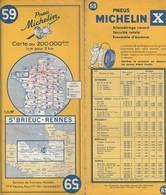 Carte Michelin N°59 - St Brieuc Rennes- 1961 - Roadmaps