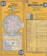 Carte Michelin N°63 - Vannes Angers - 1961 - Roadmaps