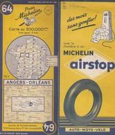Carte Michelin N°64 - Angers Orleans - 1954 - Roadmaps