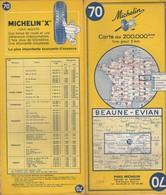 Carte Michelin N°70 - Beaune Evian - 1964 - Roadmaps