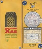 Carte Michelin N°73 - Clermont-Ferrand Lyon - 1970 - Roadmaps
