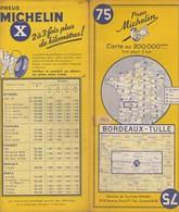 Carte Michelin N°75 - Bordeaux Tulle - 1957 - Roadmaps
