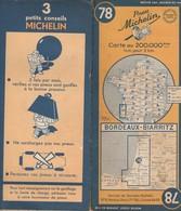 Carte Michelin N°78- Bordeaux Biarritz - 1950 - Roadmaps