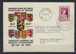 N°864 GESTEMPELD OP OMSLAG Bijzondere Vlucht Per Helikopter Antwerpen - Verviers 1951 SUPERBE - Airmail