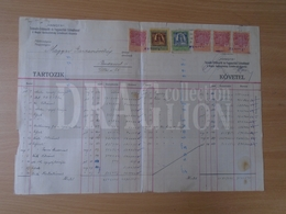 DC31.15  Hungary  -Old Commercial Document -  HANGYA Fogy. Szövetkezet - Ca  1924  Revenue Stamps - Invoices & Commercial Documents