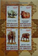 Djibouti 2011 M/S Cinderella Issue Stamps Wild Animals Elephants Rhinocero Hippopotamus Mammals Buffalo Fauna MNH Perf - Djibouti (1977-...)