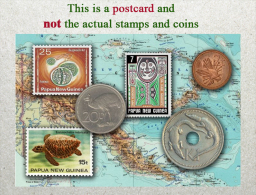 Papua New Guinea Stamps And Coinsof Yestertear, Papouasie Nouvelle Guinée Monnaies Et Timbres, Münzen Und Briefmarken - Stamps (pictures)