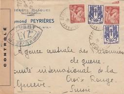 LETTRE. 28 3 45. SEPTFONDS TARN ET GARONNE POUR GENEVE SUISSE .  BANDE CENSURE   / 1 - 1921-1960: Période Moderne