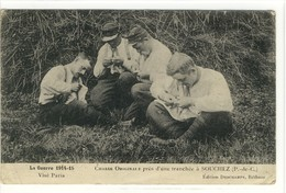 Carte Postale Ancienne Souchez - Chasse Originale Près D'une Tranchée - Militaires, Santé, Puces - Autres Communes
