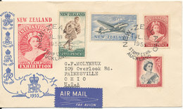 New Zealand Stamp Exhibtion Cover 18-7-1955 With Cachet Uprated And Sent To USA - New Zealand