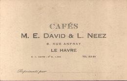 76 - LE HAVRE - Cafés M. E. David & L. Neez 8 Rue Anfray - Cartes De Visite