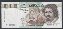 100000 Lire Caravaggio I° Tipo Serie C 1986 Sup Lotto.1954 - [ 2] 1946-… : République
