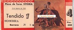 Billet De Corrida 08/08/1962 PLAZA TOROS DE VITORIA  - Scans Recto-verso - Biglietti D'ingresso