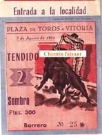 Billet De Corrida 07/08/1961 PLAZA TOROS DE VITORIA  - Scans Recto-verso - Biglietti D'ingresso