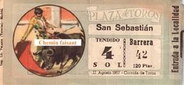 Billet De Corrida 17/08/1957 PLAZA TOROS DE SAN-SEBASTIAN  - Scans Recto-verso - Tickets - Vouchers