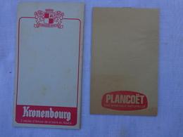 Lot De 2 Carnets De Bloc - Kronenbourg Et Plancoet Eau Minerale .lot 1 - Alcoholes