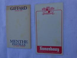 Lot De 2 Carnets De Bloc -incomplet- Kronenbourg Et Giffard Depuis 1885 .menthe Pastille  Lot 5 - Alcolici