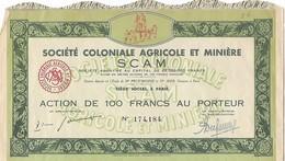 Vieux Papiers : Action De 100 Francs - Société Coloniale Agricole Et Minière - Miniere