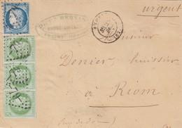 LETTRE DEVANT. 25 DEC 74AMBERT PUY-DE-DOME. GC 79 POUR RIOM  / 2 - Marcofilia (sobres)