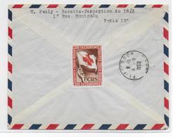 1950 - VIGNETTE CROIX-ROUGE AU DOS - LETTRE Par AVION RECOMMANDEE De PARIS => EL AFFROUN (ALGERIE) - Commemorative Labels
