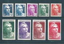 France Timbres De 1945/47 Marianne De Gandon  Série Complète  N°725 A 733  Neuf * Petite Trace De  Charniére - 1945-54 Marianne De Gandon