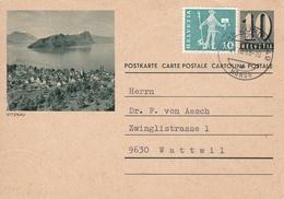 Bild-Postkarte Vitznau  Mit Zusatzfrankatur Mi:696 - Entiers Postaux