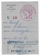 63 - ENNEZAT - Taxe Des Vélocipèdes - 1954 - Fiscale Zegels