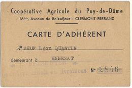63 - COOPERATIVE AGRICOLE - Carte Adhérent - ENNEZAT - - Agriculture