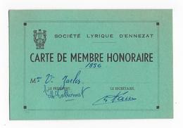 63 - ENNEZAT - Carte Adhérent - Société Lyrique - 1956 - Maps